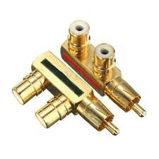 Gold Metal AV Audio Splitter Plug RCA Adapter RCA Converter 1 Male to 2 Female