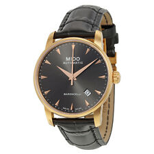 Mido Baroncelli II Automatic Black Dial Black Leather Mens Watch M86003134