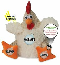 goDog Checkers Fat Rooster Chew Guard Technology Tough Plush Dog Toy White Small