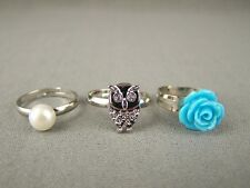 Aqua Turquoise Rose bird hoot OWL faux pearl set of 3 cocktail ring adjustable