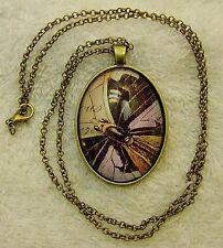 NEW NECKLACE BRASS TONE FRAME ARTISTIC BUTTERFLY INSECT FLOWER GARDEN WRITIN JN1
