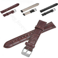 Black High Quality Mens Ladies Genuine Soft Leather Watch Band Strap 16mm-24mm