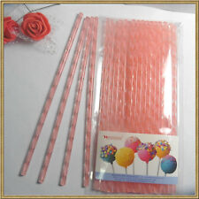 """50pc 6"""" (15cm) Acrylic Sticks For Cake Pops or Candy Apple-Pink swirl"""