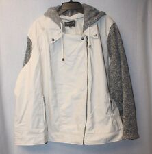 NEW WOMENS PLUS SIZE 4X IVORY FAUX LEATHER MOTO JACKET COAT FLEECE SLEEVES HOOD