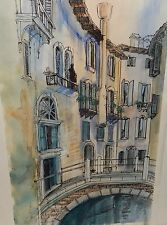 "DIANE CLAPP BARTZ ""CANALS OF VENICE ITALY"" ORIGINAL WATERCOLOR PAINTING C.O.A."