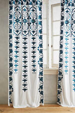 1 New Anthropologie Antonella Curtain Panel  White Teal Embroidered 42 x 108""