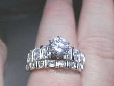 925 STERLING SILVER BRILLIANT BAGUETTES ENGAGEMENT WEDDING 2 RING SET SIZE 9