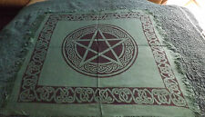 BLACK & GREEN  18 X 18 PENTACLE ALTAR CLOTH/ WICCAN/ PAGAN