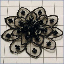 BLACK SEQUIN BEADED FLOWER APPLIQUE  2354-A