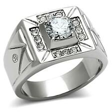 Men's 1.85CT Stainless Steel 6.5MM CUBIC ZIRCONIA Ring Stamped 316 Never Tarnish