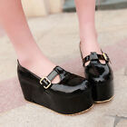 Mary Janes Womens Creeper High Wedge T-Strap Buckle Platform Shoes Big Size