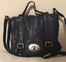 Fossil Maddox  Navy Blue Leather Top Handle Crossbody Messenger No Key