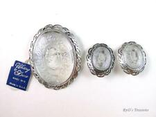 Vintage WHITING & DAVIS Clear Intaglio Cameo Brooch & Clip Earrings SET w/TAGS