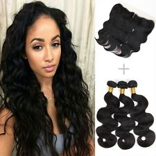 300g/3 bundles 8A peruvian bodywave human hair 22,24,26 &13x4 lace frontal 20
