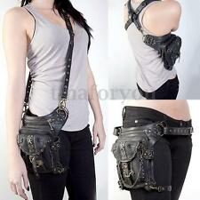 Vintage Leather Punk Rock Waist Bag Hiking Steampunk Leg Hand Shoulder Pack