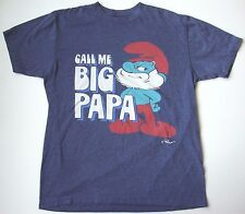 Men's THE SMURFS PAPA SMURF FUNNY T shirt size medium M