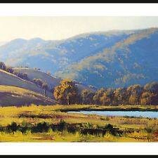 LARGE LANDSCAPE PAINTING COMMISSIONED AFTERNOON SUNLIGHT LITHGOW AUSTRALIAN ART