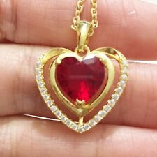 Red Ruby Heart Diamond Halo Pendant Necklace 14K Yellow Gold Valentine Gift A138