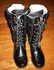WOMEN'S TIMBERLAND BLACK PUFFER LINED LEATHER WINTER ZIP LACE UP BOOTS 7 EUC
