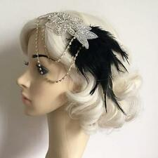 Vintage Feather 1920s Headpiece Flapper Chain Hairband Great Gatsby Headband