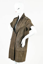 Rachel Roy Brown Suede Leather Embroidered Shift Dress SZ 6