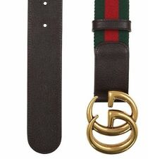 NEW GUCCI CURRENT WEB DETAIL CANVAS BROWN LEATHER DOUBLE G BUCKLE BELT 90/36