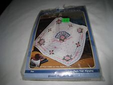 Bucilla Special Edition Lap Quilt Stamped Embroidery Cross Stitch Kit Fan Flower