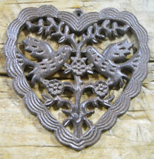 Cast Iron Victorian Style HEART Plaque Sign Rustic DOVES Wall Decor LOVE BIRDS