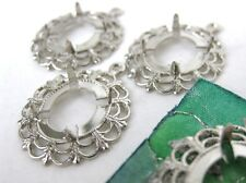 Vintage Prong Setting Silver Lace Filligree for 12x10mm Rhinestone or Cabochon