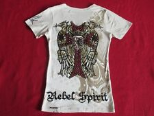 * rebel spirit femme t shirt top * strass Croix Ailes LION DRAGON * Gr: s * comme neuf