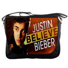 "Justin Bieber Believe Messenger Bag 14"" Textbook Notebook Laptop School Custom"