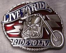 Pewter Belt Buckle Motorcycle Live to Ride Ride to Live