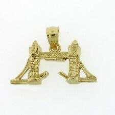NEW 14k YELLOW GOLD 3-D LONDON TOWER BRIDGE CHARM PENDANT JEWELRY