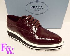 New PRADA 7.5 Brogue Oxfords Creepers Wingtip 7 1/2 Shoes 37.5