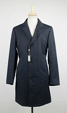 New. LORO PIANA Navy Blue Cotton Blend W/ Suede Trimmings Trench Coat S $2695