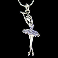 w Swarovski Crystal ~Light Purple BALLERINA Ballet Dancer Charm Necklace Jewelry