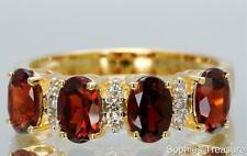 ~Oval Cut Natural Garnet & Diamond Victorian Ring Set In Solid 14K Yellow Gold~