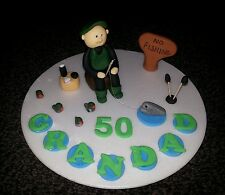Edible fishing fisherman birthday cake topper 30th 40th 50th 60th ect