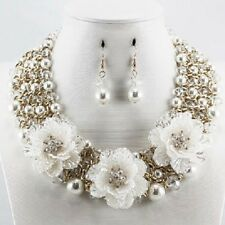 Adjustable Three Flower Necklace with Faux Cream Pearls and Matching Earrings