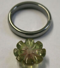 GREEN RED TOURMALINE LOOSE GEM 14MM CARVED FLOWER 8.7CT GEMSTONE TU41
