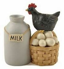 Milk Can Black Chicken Hen Eggs Basket Resin Blossom Bucket Farm Fresh County