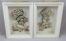 (2) Vintage Holly Hobbie - 3D Picture Shadow Box - Girls Cats Kittens Flowers
