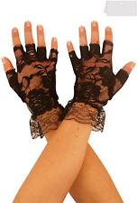 Black Ladies Stretch Fingerless Wrist Gloves Wedding Goth Fancy Dress Accessory