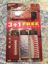 SPORTS LIGHTERS SCRIPTO NEW SET OF 4 -  2003 FOOTBALL BASEBALL BASKETBALL GOLF