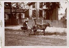 STREET SCENE - CHILDREN SITTING IN PONY CARRIAGE & ANTIQUE OUTDOOR CABINET PHOTO