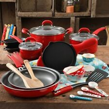 Pioneer Woman Red Vintage Speckle 24 PC Mother's Day Cookware Combo Set Kitchen