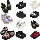 NEW WOMENS PLATFORM FLATS CREEPERS WEDGE SHOES LACE UP LADIES PUNK GOTH BOOTS