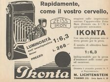 Z1838 ZEISS IKON Ikonta Novar 1:6,3 - Pubblicità d'epoca - 1929 Old advertising