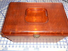 Vintage Wilson Wil-Hold Amber Sewing /Craft Box w/2 Removable Organizer Trays