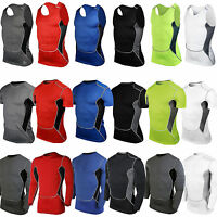 Mens Compression Armour Base Layer Vest Top Thermal Gym Sport T-Shirt Under Skin